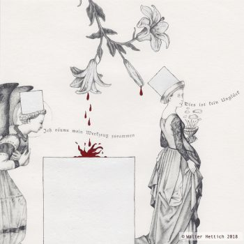 """Dies ist kein Unglück - Variation II Zeichnung aus der Serie """"Der Tausch der Dinge"""" - Variation mit Engel Polymerminenstift/Tempera auf 200 gr. Papier 20x20 cm Entstehungsjahr: 2008"""